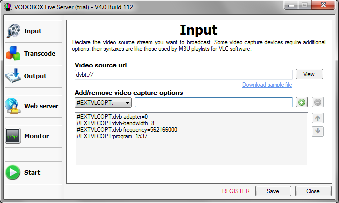 Indiquez la source video diffusee par le logiciel VODOBOX Live Server